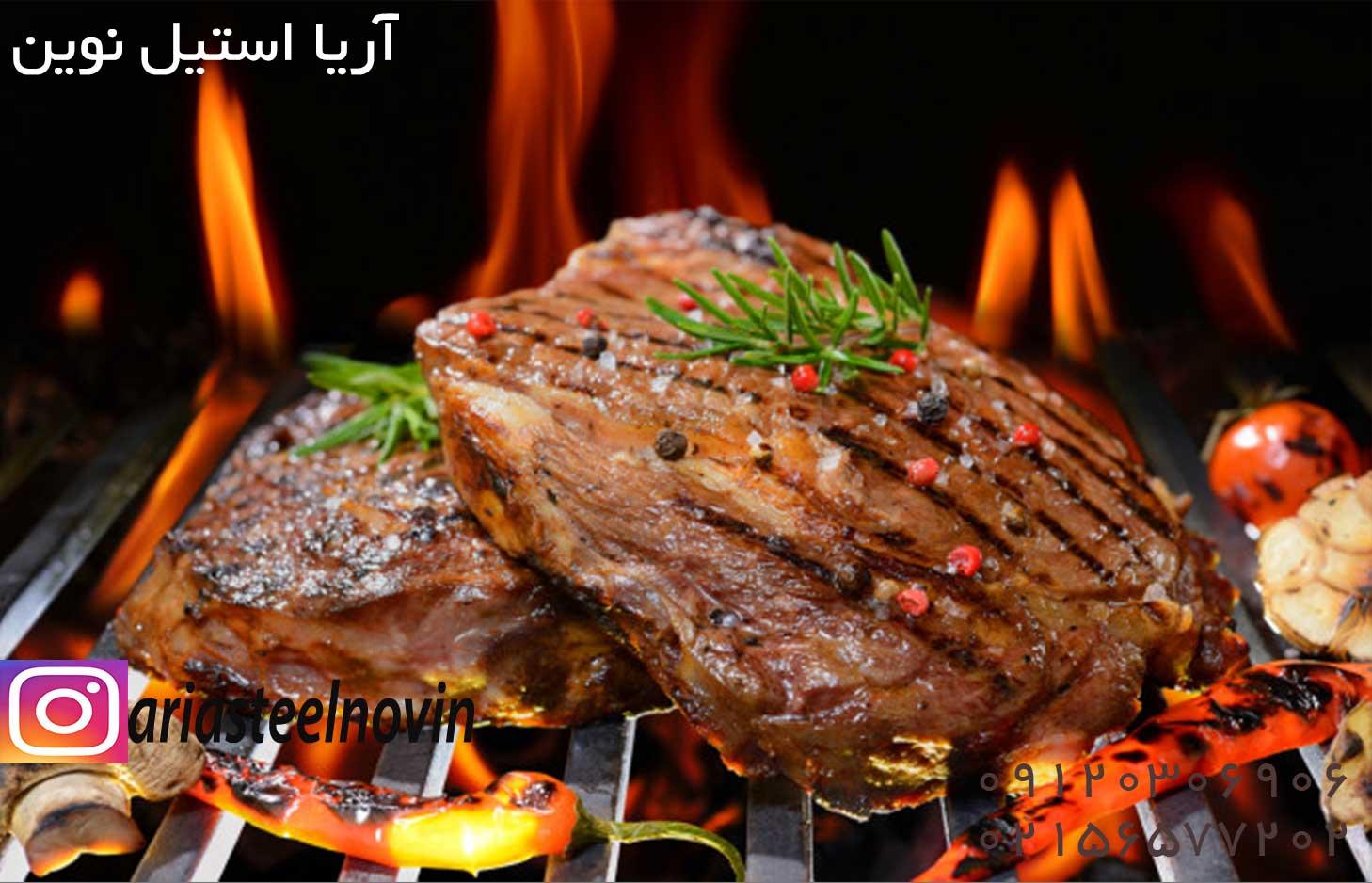 استیک گوشت خوشمزه و عالی با پخت در دستگاه گریل ذغالی عالی میباشد