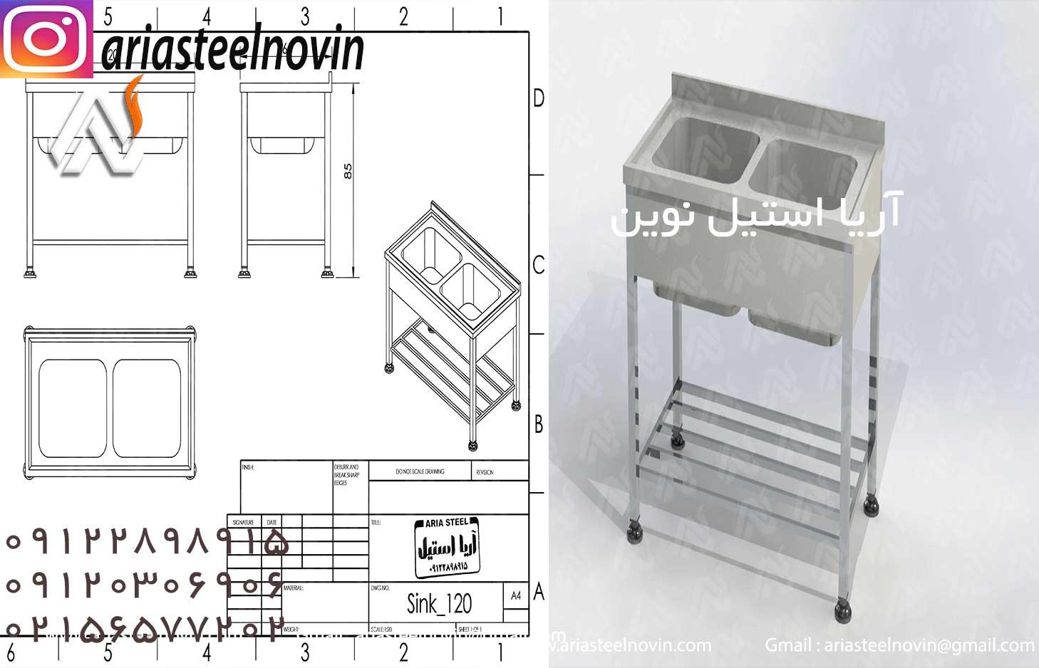 سینک-دولگنه-صنعتی-استیل