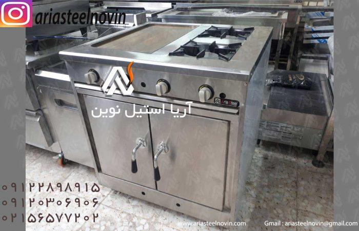 اجاق-گاز-دو-شعله-ترکیبی | تجهیزات آشپزخانه صنعتی | تجهیزات فست فود