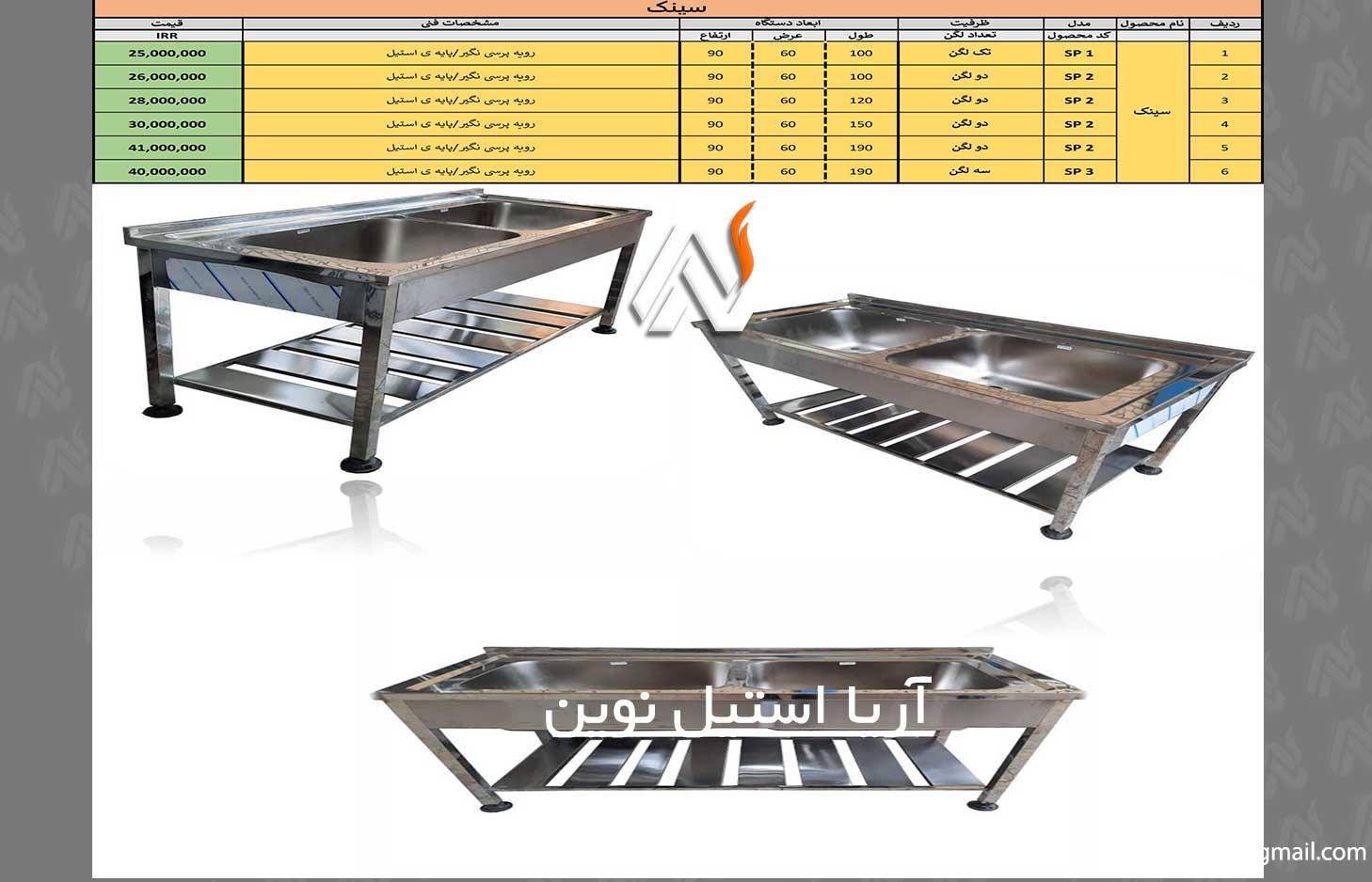 لیست قیمت تجهیزات نظافتی آشپزخانه صنعتی
